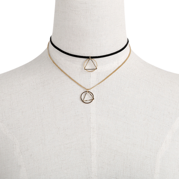Gold Plated Geometry Pendant Velvet Ribbon Choker Necklace