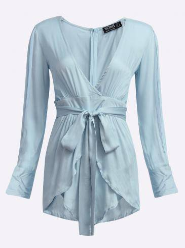 Plunging Neckline Layered Details Flattering Playsuit