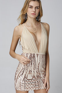 Beige Self-tie Plunge V-neck Sequin Embellished Sleeveless Mini Dress