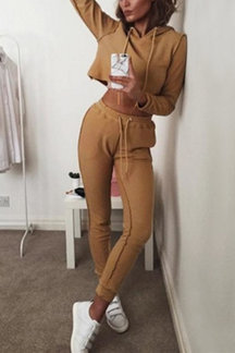 Crop Hoodie & Drawstring Waist Pants Co-ord