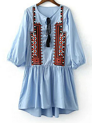 Boho Embroidery Pattern 3/4 Length Sleeves Tassel and Pleats Details Dress