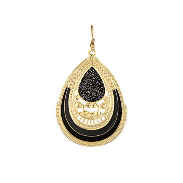 Black Hollow Out Water Drop Pattern Earrings