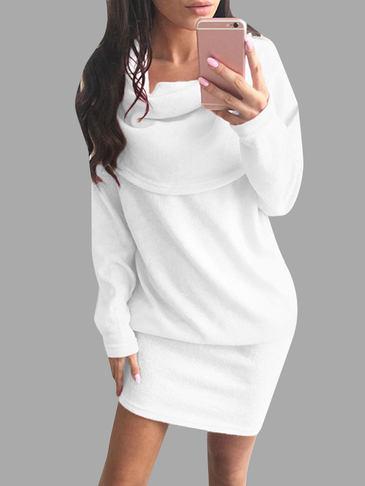 White Fashion Rolled Neck Long Sleeves Midi Dress