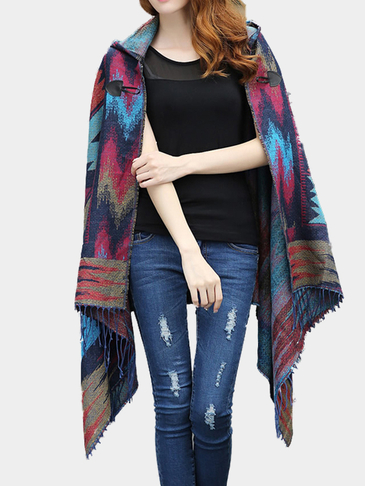 Blue Geo-Tribal Hooded Cape