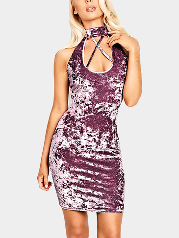 Casual Velvet Sleeveless Halter Design Mini Dress in Lavender