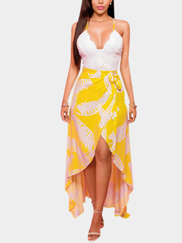 Yellow V-neck Wrap Front Open Back Maxi Dress