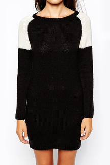 Round Neck Color Block Knitted Sweater Dress
