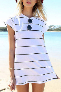 Stripe Pattern Mini Dress