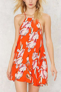 Fashion Sleeveless Mini Dress In Random Floral Pattern