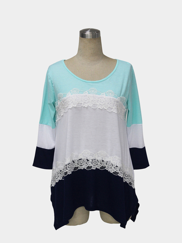 Color Block Stitching Blouse with Lace Detail in Blue
