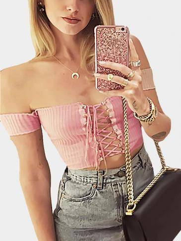 Pink Off-The-Shoulder Plunging Criss-Cross Crop Top