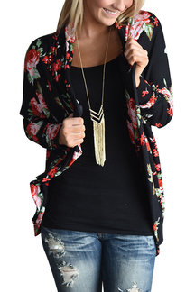 Random Floral Print Long Sleeves Bomber Jacket
