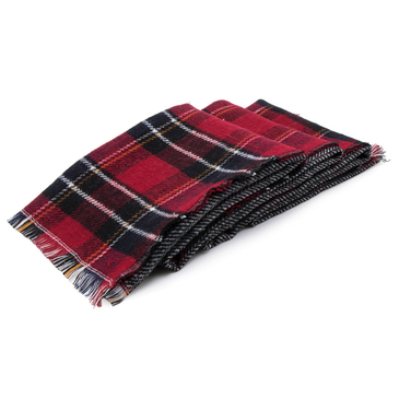 Red Blue Checked Print Double Sided Scarf