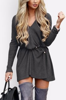 Sexy V-neck Mini Dress in Dark Grey