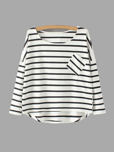 Black Stripe Pattern Loose Fit T-shirt