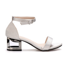 Grey Hollow Metallic Block Heel Single Strap Front Sandals