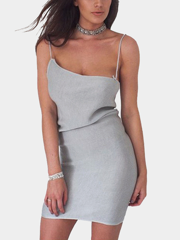 Grey Sexy Sleeveless Mini Knitted Dress