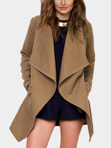 Fashion Camel Open Front Side Pockets Longline Coat
