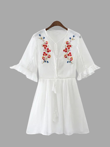 White Lace-up Embroidery Pattern Mini Dress