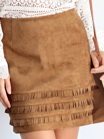 Khaki A-line Mini Skirt with Tassel Details