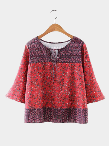 Fashion Floral Lace-up Top with 3/4 Length Sleeves