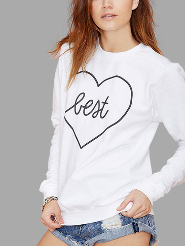 White Casual Round Neck Slogan Front Hoodie