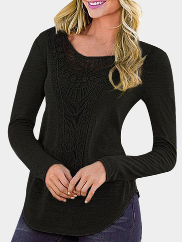 Black Fashion Crochet Curved Hem T-shirt