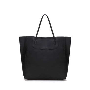 Black Leather-look Shoulder Bag with Removable Clutch