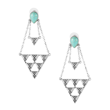 Triangle Pendant Chain Earrings