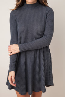 Dark Grey Casual Grey High Neck Mini Dress With Pocket