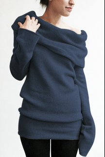 Dark Blue Pile Collar Long Sleeves Casual Blouse