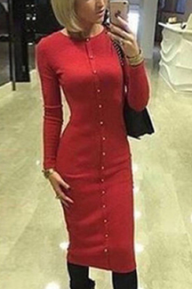 Red Single Breasted Round Neck Casual Midi T-shirt Dress