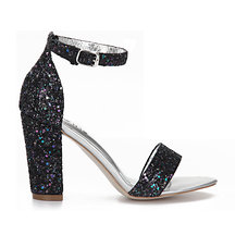 Black Sequin Ankle Strap High Heeled Sandals