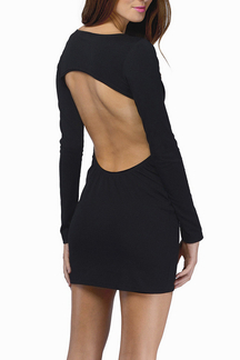 Black Cutout Back Body-Conscious Mini Dress