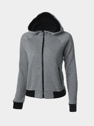 Hooded Zipper Front Sweatshirt with Raglan Sleeve
