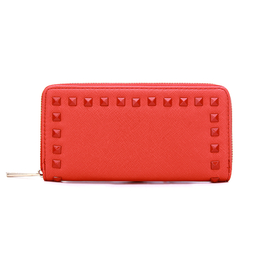 Studded Leather-look Long Purse with  Embellishment in Red