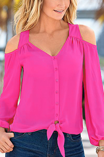 Rose Red Chiffon Cold Shoulder V-neck Long Sleeves Blouse