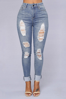 Fashion High Waist Ripped Skiny Jeans
