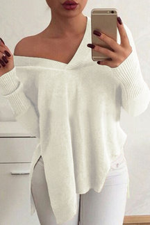Beige V-neck Long Sleeves Splited Knit Sweater