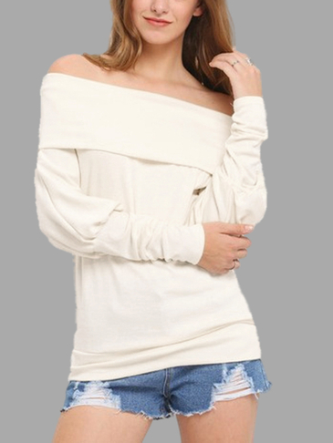 White Off Shoulder Long Sleeves T-hirt