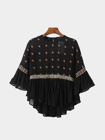 Embroidery 3/4 Length Sleeves Blouse