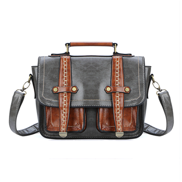 Grey Two Front Pockets Leather-look Messenger Bag