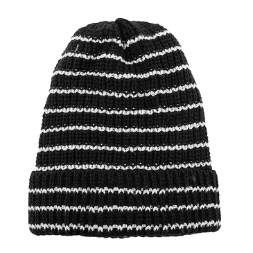 Black Stripe Knit Beanie Hat