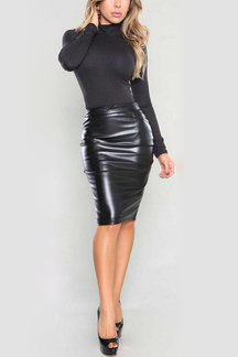 Black Leather-look Velvet Pencil Midi Skirt