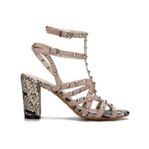 Pink Leather Look Snake Print Heel Ankle Strap Studded Sandals
