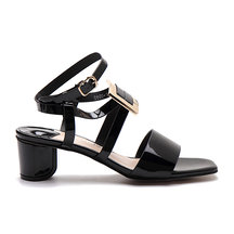 Black Glossy Finish Buckle Over Block Heel Sandals With Black Strap Front
