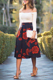 Dark Blue Midi A-line Skirt In Red Floral Print
