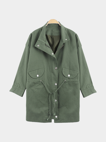Light Green Trench Coat With Drawstring Waist