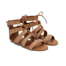 Brown Leather Look Zipper Back Lace-up Peep Toe Caged Flat Sandals