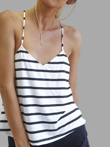 Sexy Open Back Stripe Pattern Cami
